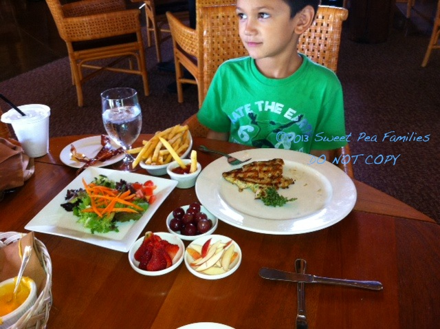 Night Owl eating out - nothing on the menu appealed to him, so he ordered his own smorgasbord for lunch!