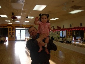 "Ysabella still remembers being carried up high like this - Harrison was trying to teach her to ""fly"""