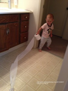 a look of sheer joy for finding the roll of TP that is usually out of his reach, great for using the toilet and brushing my teeth!