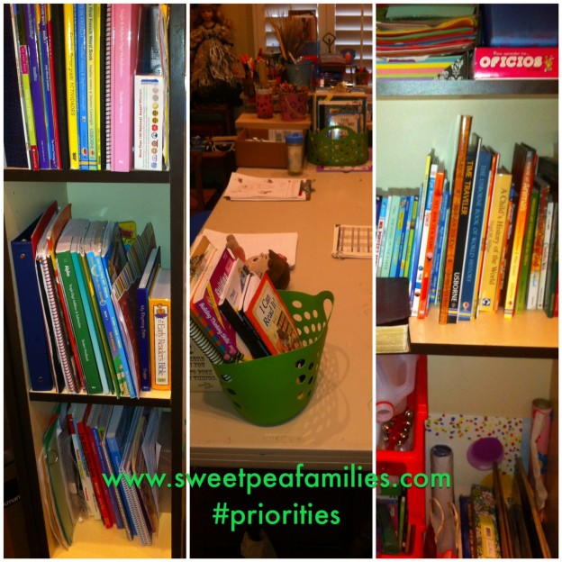 Each kiddo has a dedicated shelf, our table is clean, and lots of manipulatives, books, and art supplies!