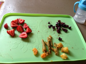 strawberries, olives, curried green beans, carrots & potatoes