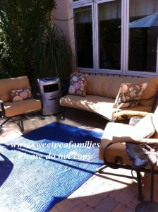 Here is another outdoor space we enjoy - also a part of the courtyard.  I have our sand & water table in this area as well.