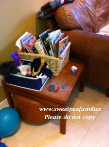 Book basket in the family room - I try to remember to rotate these out so there are always new treasures!