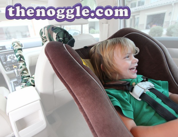 Using the noggle™ with a rear-facing child - it can direct air down their back, where AZ Sweet Peas tend to be the sweatiest!