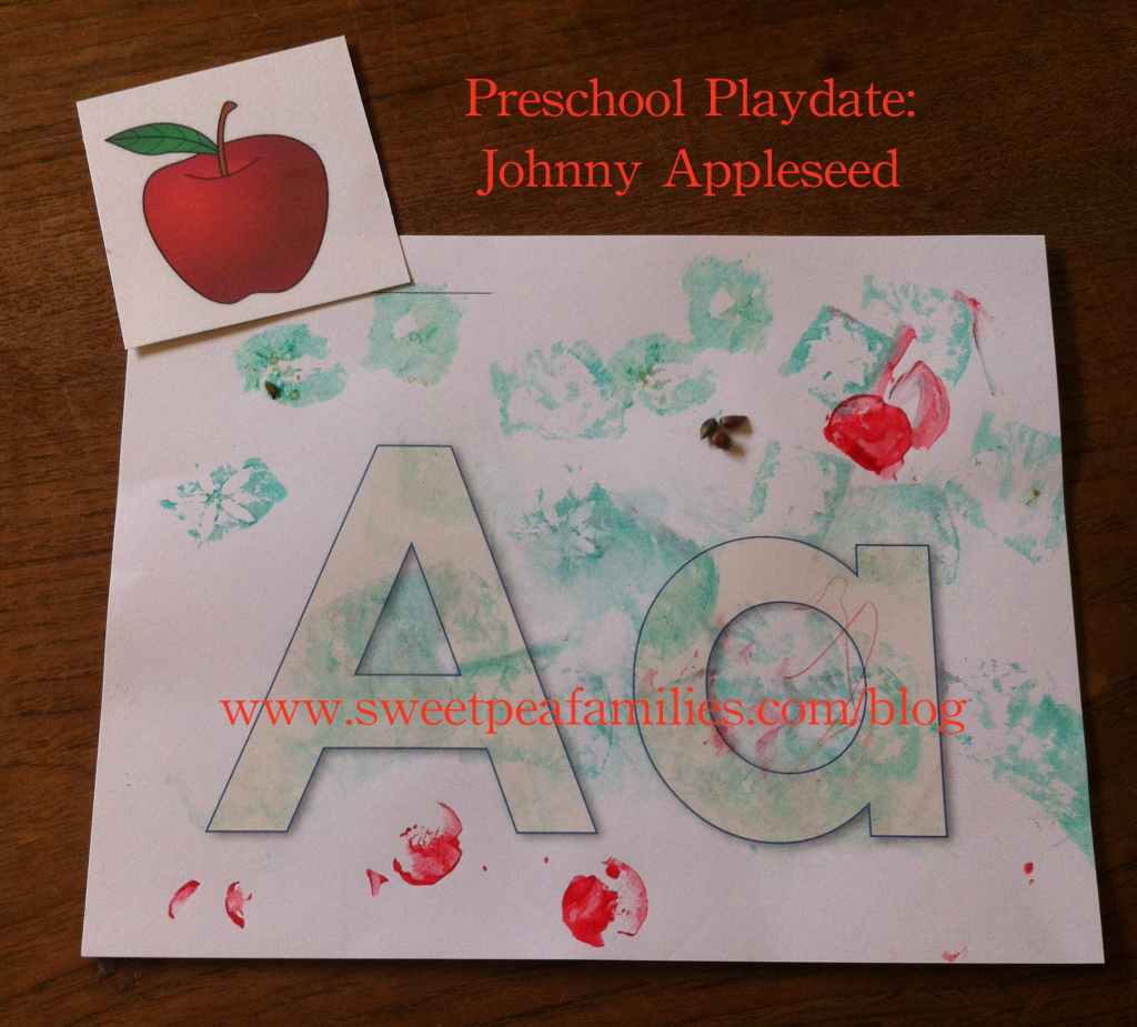 "Here is the letter on cardstock; children printed and pasted on the letter ""A"" to reinforce the beginning letter sound."