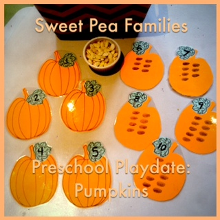 Sweet Pea Families Pumpkin Playdate: Math Center
